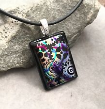 Steampunk Dichroic Fused Glass Pendant Handmade w/necklace