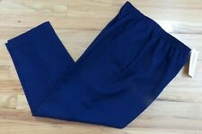 NWT Alfred Dunner Navy Blue Elastic Waistband Pull on Pants Size 10 26x27 M60