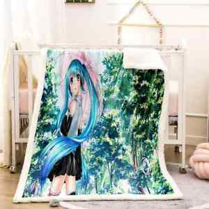 Blue Hair Sober Simple Green Tree 3D Warm Plush Fleece Blanket Picnic Sofa Couch