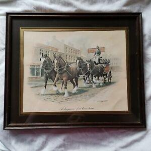 A Drayman's Four Horse Team Print S Lester Framed Breweriana