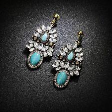 Boucles d/'Oreilles Clips Cylindrique Fin Turquoise Argenté Retro Original E6