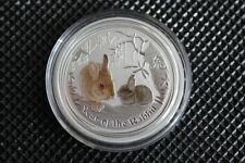 2011 Lunar II Hase 1/2 oz farbig coloriert .999 Silber Perth Mint Top Zustand