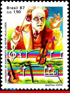 2095 BRAZIL 1987 HEITOR VILLA LOBOS, CONDUCTOR, MUSIC, FAMOUS PEOPLE, C-1543 MNH
