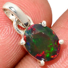 Faceted Chalama Black Opal 925 Sterling Silver Pendant Jewelry AP191498