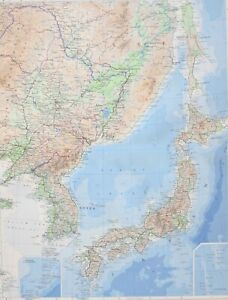 1958 LARGE MAP CHINA NORTH EAST ~ KOREA SEA OF JAPAN HARBIN SEOUL PUSAN TOKYO