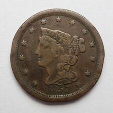 1857 Braided Hair Half Cent Damaged