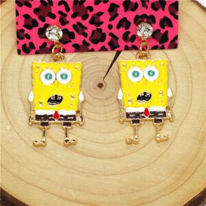 New Yellow Enamel Cute Sponge Cartoon Crystal Betsey Johnson Women Stand Earring