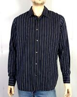 euc Calvin Klein Men's Navy Blue Striped Button Down Dress Shirt sz L