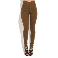Womens Plain High Waist Skinny Stretch Jeans Pencil Slim Trousers Pants Jeggings