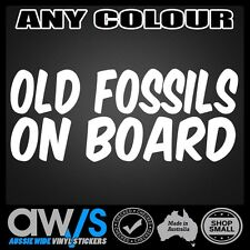FUNNY CAR STICKER DECAL OLD FOSSILS ON BOARD FOR BOATING CAMPING CAR 4X4 4WD