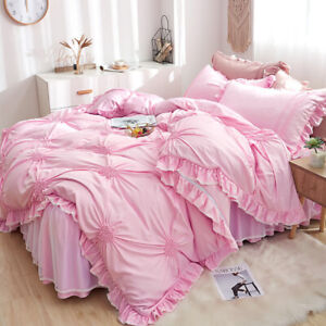 Bedding set 4pcs Lace princess 3d heart type duvet cover bed skirt 2 pillowcases