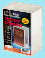ULTRA PRO 250 COUNT CLEAR 2-PIECE CARD STORAGE BOX NEW Case Sports Gaming Slider