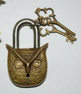 Brass Owl Padlock With 02 Keys Night Bird Face Style Almirah Door Home Dec EK334