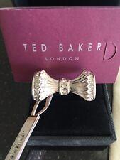 BNWT Genuine Ted Baker Bow Ring 'Alonya Plisse' Silver - Crystal M/L