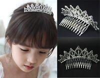 Baby Girl Kids Rhinestone Crown Bridal Tiara Hair Comb Wedding Birthday Party CL