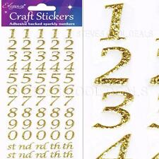 Gold Adhesive Backed Sparkly Numbers 14 Mm Tall 5 of Each Number Plus Suffix