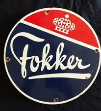 VINTAGE FOKKER AIRCRAFT MANUFACTURER PORCELAIN ADVERTISING SIGN