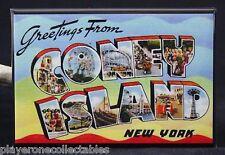 "Greetings from Coney Island Vintage Postcard 2"" X 3"" Fridge Magnet. New York"