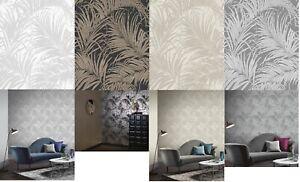 Arthouse Kiss Foil Metallic Tropical Palm Leaf Wallpaper