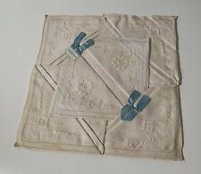 Vintage Irish Linen Embroidery & Cutwork Napkins Set of 6