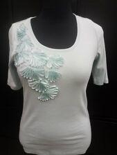 Talbots Light Blue Blouse Shirt Top w/ Embellishment Flowers Ribbons NWT Sz M