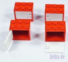 LEGO - 4 x Schrank rot 2x3x2 mit Tür weiss / Cupboard / 4532 4533 NEUWARE (e4)