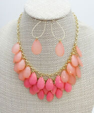 New Layered Necklace Earring Set with Beautiful Pink Teardrop Beads #N2257