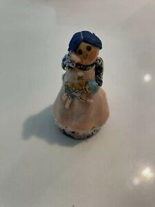 Vintage Artisian Wooden Antique Doll Ann Fuller Original Blue Dress 1:12