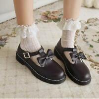 Womens Girls 2021 Fashion Lolita Bow Tie Block Heel T Strap Mary Jane Shoes SKGB