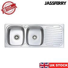 JASSFERRY New Inset Stainless Steel Kitchen Sink Double 2 Bowl Drainboard