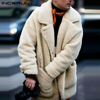 Men Long Sleeve Fluffy Coat Fleece Fur Jackets Winter Warm Hoody Coat Outerwear