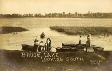 1909 BRUCE LAKE IN Looking West Dock Boats n Kewanna Smith REAL PHOTO postcard