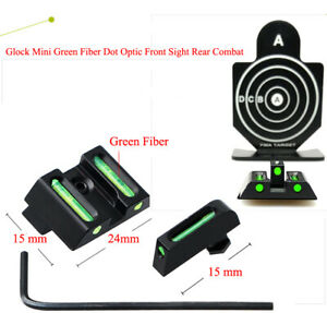 Glock Mini Fiber Optic Front Sight Rear Combat Green Dot Fiber Sight Mount