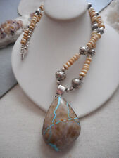 Vintage Southwest Sterling Royston Ribbon Turquoise Pendant Necklace  956K