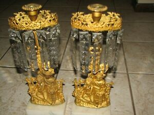 Pair of Antique Girandoles Brass and Marble with 18 Prisms