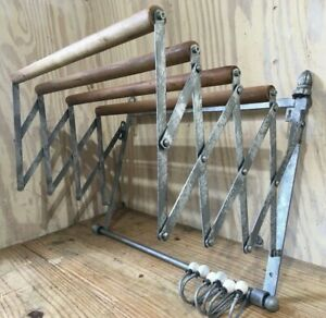 Vintage Wood Metal Expandable Clothes Drying Accordion Rack Hooks Wall Mount
