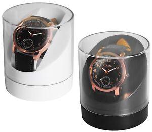 Uhrenbox Geschenkbox Uhrenkiste Schachtel transparent Kunststoff Schwarz & Weiss