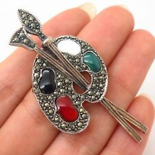 925 Sterling Silver Real Marcasite & Multicolor Gem Paint Palette Pin Brooch