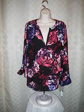 Long Sleeve Blouse 0X APT.9 Multi Color Floral 1/4 Zip 100% polyester NWT