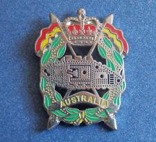 ROYAL AUSTRALIAN ARMOURED CORPS (RAAC) LAPEL BADGE ENAMEL & SILVER PLATED 25MM