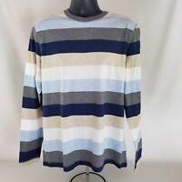 Perry Ellis Multi-Color Striped T-Shirt Round Neck 100% Cotton Size L Blue