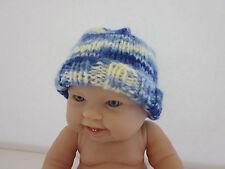 Hand knit newborn hat- Shades of Blue Baby Cap- Handmade knit baby hat