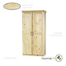 Armoire dressing penderie rangement étagère 2 portes bois massif naturel