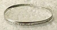 "solid sterling silver Christian Hope Love Joy bangle 2.75 "" bracelet 925 Oblong"