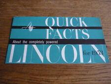 LINCOLN COSMOPOLITAN AND CAPRI QUICK FACTS BROCHURE 1953 USA