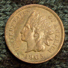 Very Nice Antique 1905 Indian Head Penny Full Liberty Diamonds XF One 1 Cent 1c