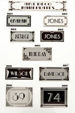 House Sign Plaque Personalised Name Plate Door Number Art Deco Nameplate