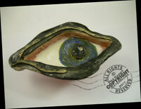 "7"" Pottery ""Eye Tray""  Artist Folk Art DISH ashtray OOAK Fired Ceramic SIGNED"