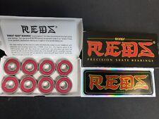 Bones Reds Skateboard Bearings 8-Pack 8mm Precision Size 608 (Standard) Open box