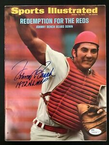 Johnny Bench Signed Sports Illustrated 3/13/72 No Label Baseball Reds Auto JSA